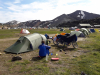 Drukke/ busy camping Lanmannalaugar